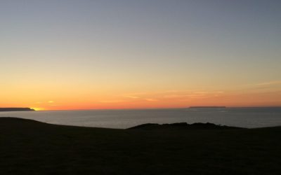 A beautiful sunset looking out to Lundy Island